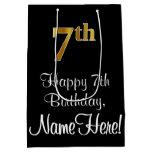 [ Thumbnail: Luxurious, Elegant, Faux Gold Look 7th Birthday Gift Bag ]