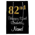 [ Thumbnail: Luxurious, Elegant, Faux Gold Look 82nd Birthday Gift Bag ]