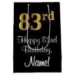 [ Thumbnail: Luxurious, Elegant, Faux Gold Look 83rd Birthday Gift Bag ]