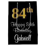 [ Thumbnail: Luxurious, Elegant, Faux Gold Look 84th Birthday Gift Bag ]