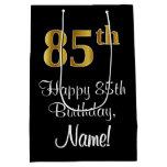 [ Thumbnail: Luxurious, Elegant, Faux Gold Look 85th Birthday Gift Bag ]