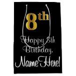[ Thumbnail: Luxurious, Elegant, Faux Gold Look 8th Birthday Gift Bag ]