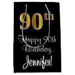[ Thumbnail: Luxurious, Elegant, Faux Gold Look 90th Birthday Gift Bag ]