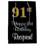 [ Thumbnail: Luxurious, Elegant, Faux Gold Look 91st Birthday Gift Bag ]