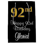 [ Thumbnail: Luxurious, Elegant, Faux Gold Look 92nd Birthday Gift Bag ]