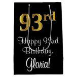 [ Thumbnail: Luxurious, Elegant, Faux Gold Look 93rd Birthday Gift Bag ]