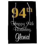 [ Thumbnail: Luxurious, Elegant, Faux Gold Look 94th Birthday Gift Bag ]