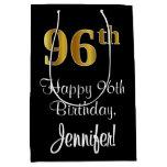 [ Thumbnail: Luxurious, Elegant, Faux Gold Look 96th Birthday Gift Bag ]