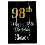 [ Thumbnail: Luxurious, Elegant, Faux Gold Look 98th Birthday Gift Bag ]