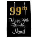 [ Thumbnail: Luxurious, Elegant, Faux Gold Look 99th Birthday Gift Bag ]