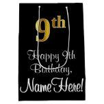 [ Thumbnail: Luxurious, Elegant, Faux Gold Look 9th Birthday Gift Bag ]