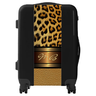 Luxurious Faux Leopard Skin Gold Leather Pattern Luggage
