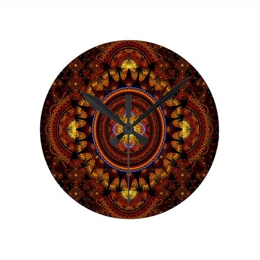 Luxurious Fractal Rug Round Clock