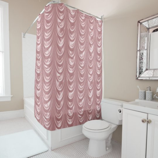 Luxurious Girly Pink Ruched Faux Scalloped Satin Shower Curtain