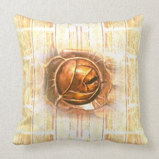 Luxurious Golden Rose and timber Throw Pillow