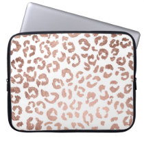 Luxurious hand drawn rose gold leopard print computer sleeve