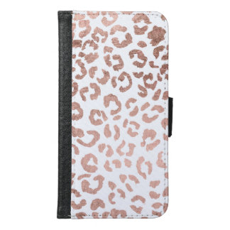 Luxurious hand drawn rose gold leopard print wallet phone case for samsung galaxy s6
