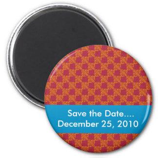 luxurious heart shape orange pattern on rough brow 2 inch round magnet