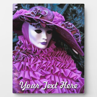 Luxurious Lady Wearing A Purple Carnival Costume Plaque
