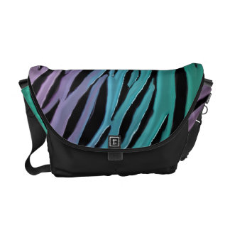 Luxurious Lavender Turquoise Teal Tiger Print Courier Bag