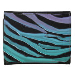 Luxurious Lavender Turquoise Teal Tiger Print Leather Trifold Wallet