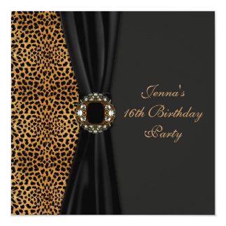 Luxurious Leopard Classy Black Sweet Sixteen Party 5.25x5.25 Square Paper Invitation Card