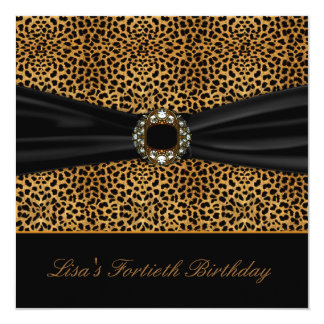 Luxurious Leopard Womans 40th Birthday Party 5.25x5.25 Square Paper Invitation Card