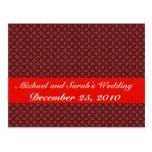 luxurious light red pattern on rough red backgroun postcard