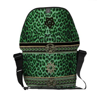 Luxurious Lucky Leopard in Celtic Kelly Green Bag