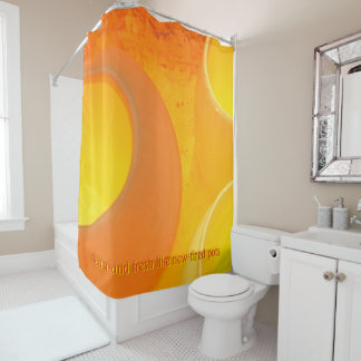 Luxurious oranges and yellows of a cooling kiln shower curtain