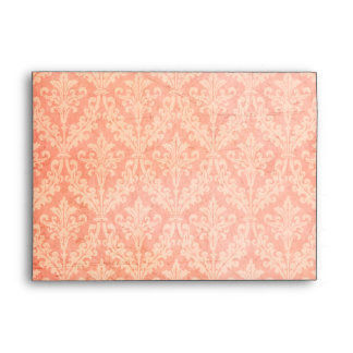 Luxurious Pale Pink Damask: Linen A-7 Envelope