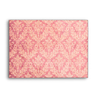 Luxurious Pink Damask: Linen A-7 Envelope