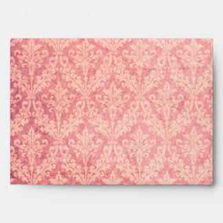 Luxurious Pink Damask: Linen A-7 Envelope