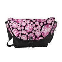 Luxurious pink Diamond Pattern Courier Bag