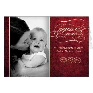 "Luxurious Red ""Joyeux Noël"" photo card"