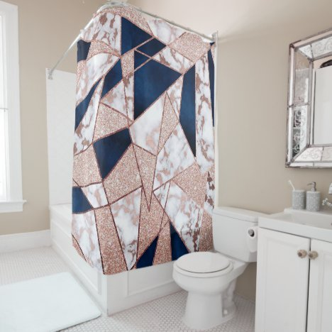 Luxurious Rose Gold Glitter Geometric Marble Shower Curtain