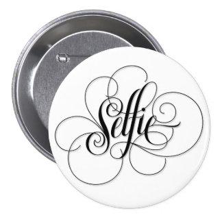 Luxurious 'Selfie' Round White Button. Pinback Button