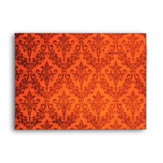 Luxurious Vibrant Red Damask: Linen A-7 Envelope