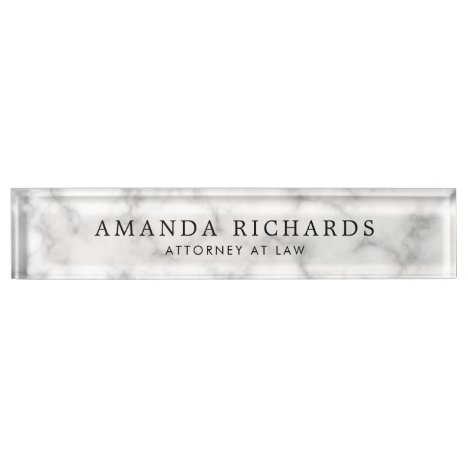 Luxurious white marble texture desk name plate