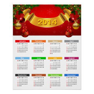 Luxury 2014 Calendar with Red Gold Ornaments Poster