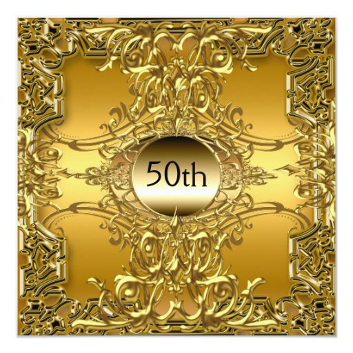 Luxury 50th Gold Birthday Party Gold Invitation