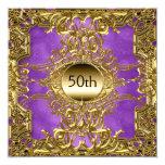 Luxury 50th Gold Purple Birthday Party Gold Invitation