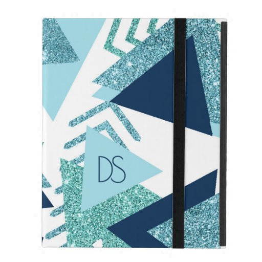 Luxury 90s Abstract | Turquoise Navy Blue Monogram iPad Case