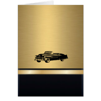 luxury awesome golden vintage old car personalized card
