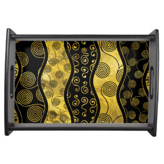 Luxury  Black and Gold African Pattern Serving Tray
