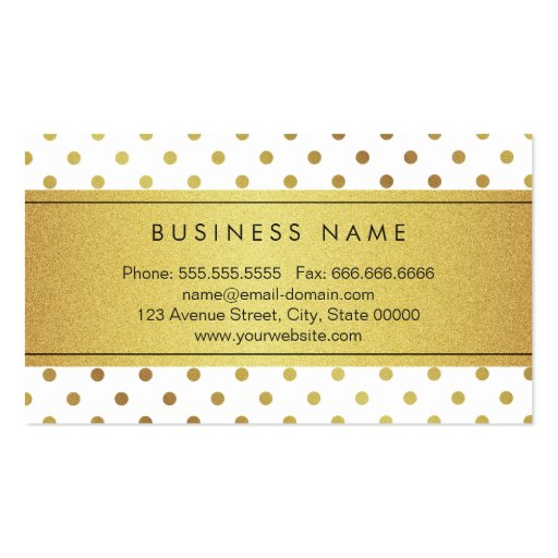 Luxury Black and Gold Glitter Polka Dots Business Cards (back side)