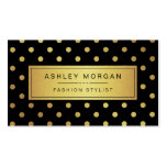 Luxury Black and Gold Glitter Polka Dots Business Cards
