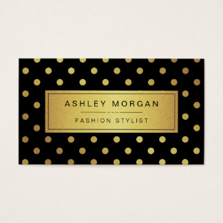 Luxury Black and Gold Glitter Polka Dots Business Card