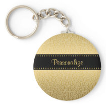 Luxury Black and Gold Jaguar Print With Name Keychain