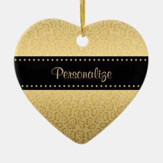 Luxury Black and Gold Jaguar Print With Name Christmas Tree Ornament